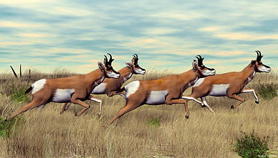 Digital Art - Pronghorn by Walter Colvin