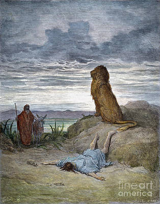 Drawing - Prophet And Lion by Gustave Dore