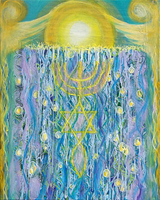 Unity Painting - Prophetic Message Sketch Painting 26 Elohim Elohim Latter Rain by Anne Cameron Cutri