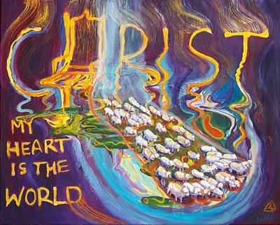 Painting - Prophetic Message Sketch Painting 3 Christ My Heart Is The World by Anne Cameron Cutri