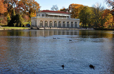 Art Print featuring the photograph Prospect Park Boathouse In Fall by Diane Lent