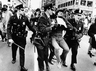 Protester Arrested At President Richard Art Print by Everett