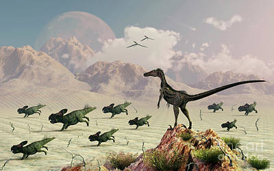 Protoceratops Stampede In Fear Art Print