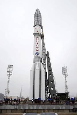 Proton M Rocket On Its Launch Pad Art Print by Ria Novosti