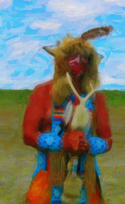Digital Art - Proud Crow Warrior by Gary Baird