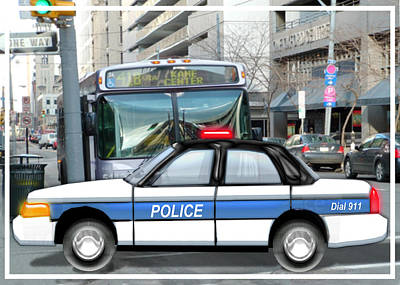 Proud Police Car In The City  Art Print by Elaine Plesser