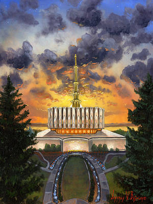 Lds Painting - Provo Temple Evening by Jeff Brimley