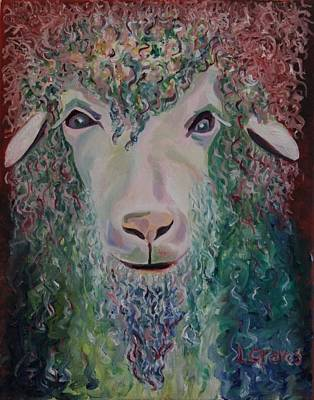Psychadelic Painting - Psychadelic Sheep by Lisa Graves