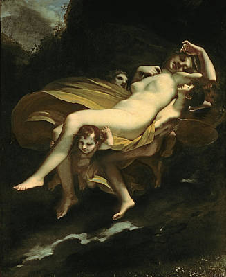 Psyche Transported To Heaven Art Print by Pierre-Paul Prud hon