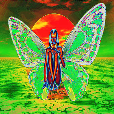 Digital Art - Psychedelic Butterfly by Matthew Lacey