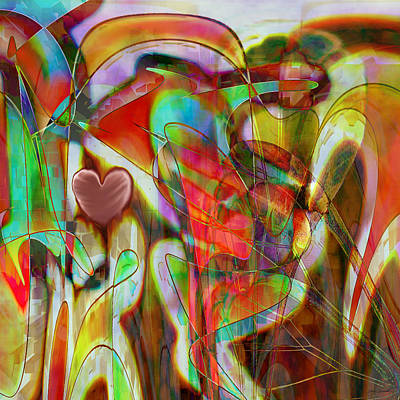 Abstract Hearts Digital Art - Psychedelic Emotions by Linda Sannuti