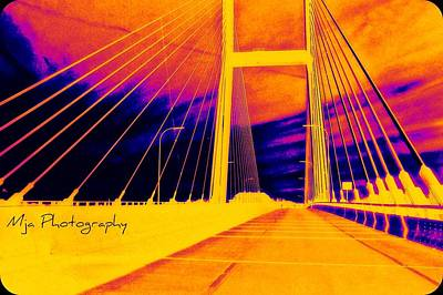 Photograph - Psychedelic Sunset Bridge by Michelle Jacobs-anderson