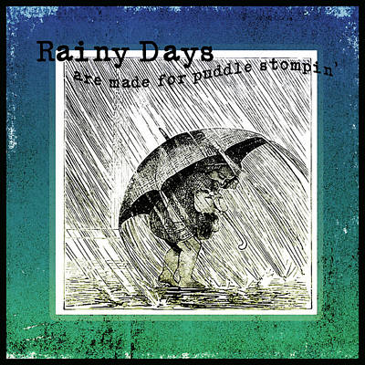 Rainy Day Digital Art - Puddle Stompin Days by Bonnie Bruno