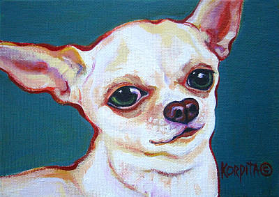 Chiwawa Portrait Wall Art - Painting - White Chihuahua - Puddy by Rebecca Korpita