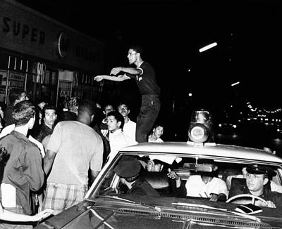 Puerto Rican Youth Standing On A Police Print by Everett