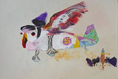 Puffin Drawing - Puffin Plane by Virginia Stuart