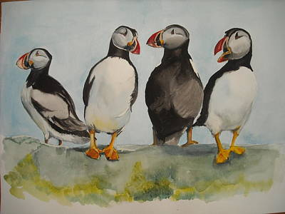 Painting - Puffins by Teresa Smith