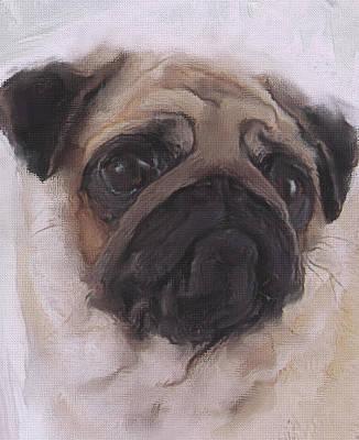 Breed Digital Art - Pug - Thoughtful by JG Keevil
