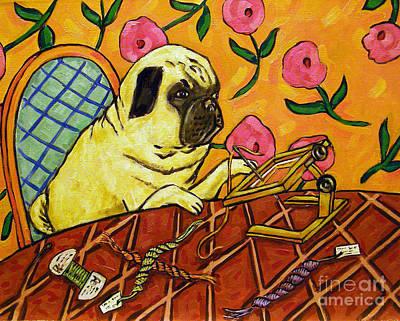 Needlepoint Painting - Pug Doing Needlepoint by Jay  Schmetz