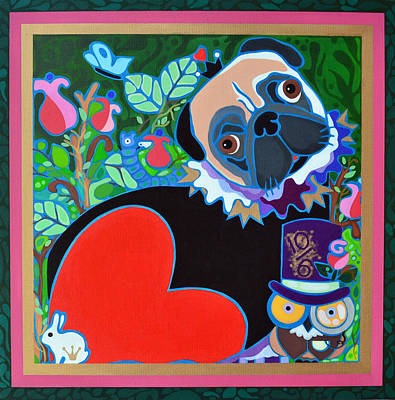 Painting - Pug Of Hearts by Jenny Valdez
