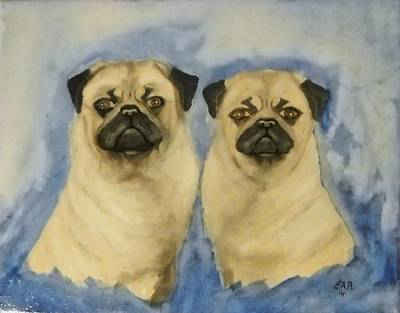 Art Print featuring the painting Pugs by Edwin Alverio