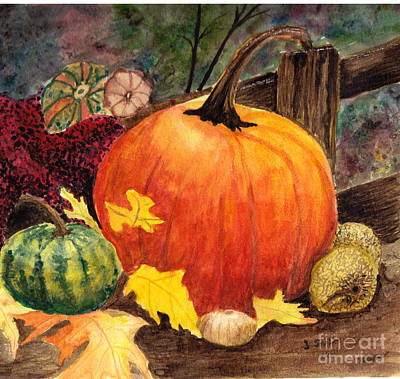 Pumpkin And Gourds Art Print by John Small