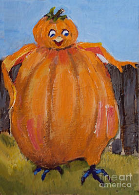 Painting - Pumpkin Bird by Diane Ursin