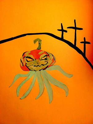 Painting - Pumpkin Head by Amy Bradley