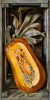 Painting - Pumpkin In A Box by John Lautermilch