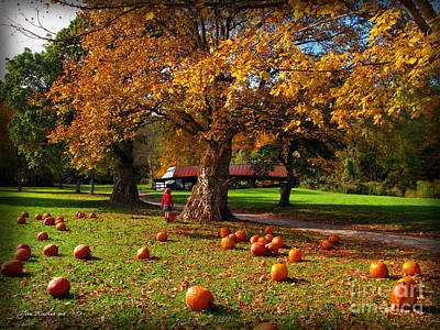 Photograph - Pumpkin Picking by Joan  Minchak