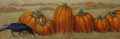 Pumpkin Row Art Print by Linda Eades Blackburn