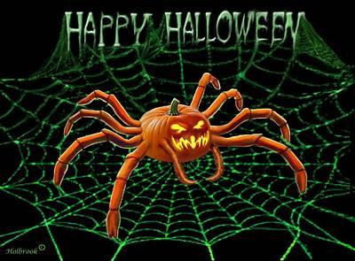 Pumpkin Spider Art Print by Glenn Holbrook