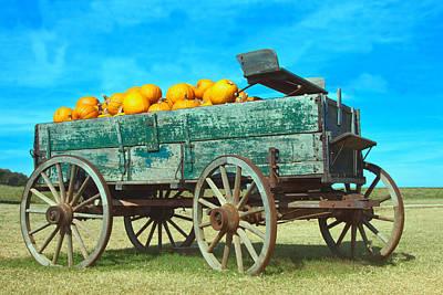 Pumpkin Wagon Art Print by Susi Stroud