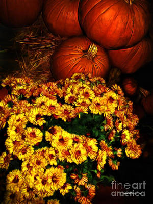 Photograph - Pumpkins And Chrysanthemums by Joan  Minchak