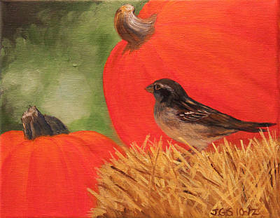 Pumpkins And Sparrow Art Print by Janet Greer Sammons