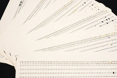 Punch Cards Art Print by Photo Researchers, Inc.