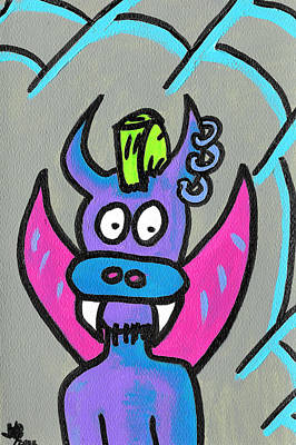 Cartoon Spider Painting - Punk Rock Puppydragon by Jera Sky