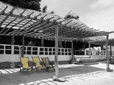 Art Print featuring the photograph Punta Mita North Of Puerto Vallarta Mexico Three Amigos Color Splash Black And White by Shawn O'Brien