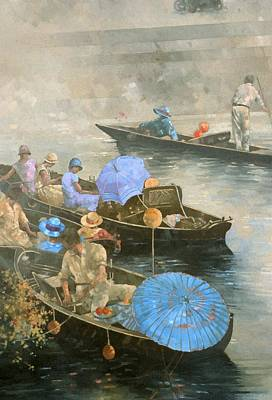 Mist Painting - Punts On The Wey At Brooklands by Peter Miller