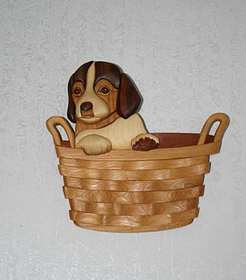 Pup In Basket Print by Bill Fugerer