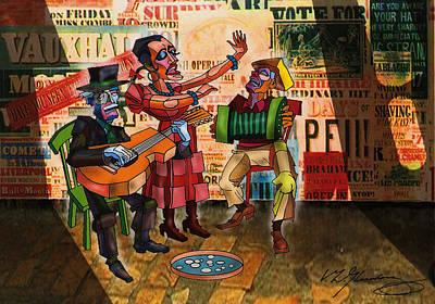 Verlyn D.gleisberg Mixed Media - Puppet Street Musicians by Dean Gleisberg