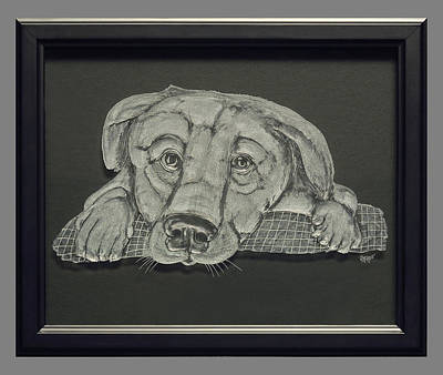 Carved Glass Painting - Puppy by Akoko Okeyo