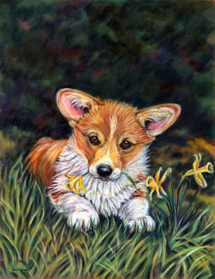Pastel Dog Painting - Puppy In The Daffodils - Pembroke Welsh Corgi by Lyn Cook