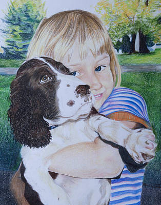Girl And Dog Drawing - Puppy Love by Mandy Jones