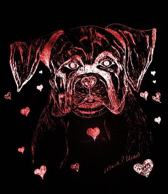 Boxer Mixed Media - Puppy Love by Maria Urso