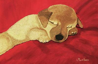 Painting - Puppy Nap Time by Victoria Rhodehouse