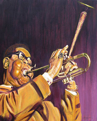 Painting - Purple And Gold Dizzy Gillespie by Michael Morgan