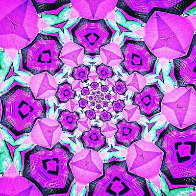 Fractal Wall Art - Photograph - #purple And #turquoise #fractal #art On by Pixie Copley