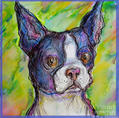 Painting - Purple Boston Terrier by M C Sturman