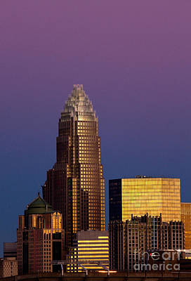 Charlotte Framed Photograph - Purple Charlotte Skyline by Patrick Schneider